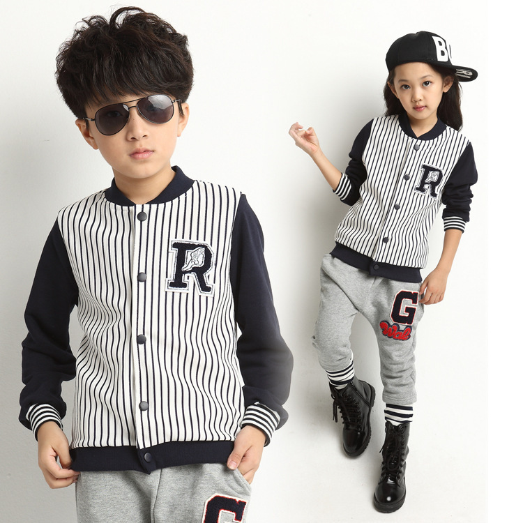Fashion 2014 Korean Style Autumn Slim Stripe Girl Or Boy Set Two Piece Baseball Uniform Girl Or