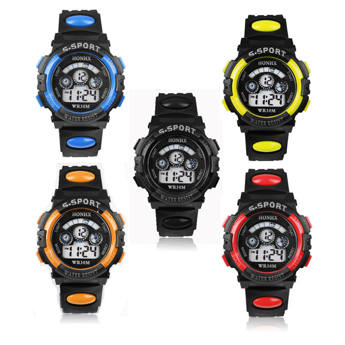 Scolour Waterproof Children Boy Digital LED Quartz Alarm Date Sports Wrist Watch Freeshipping(China (Mainland))