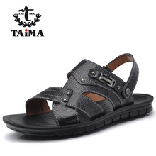 New Arrival Summer Fashion Men Genuine Leather Sandals Classic Breathable Casual Rome Sandals Shoes Men Brand TAIMA 41-47