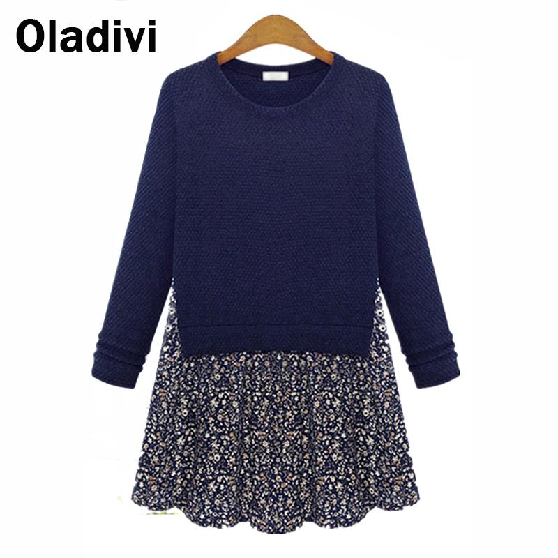 XXXXL Plus Size New Women's Spring Clothing 2016 Knitted Autumn Dress Fall European American Loose Print Long Sleeve Dresses - Oladivi official store