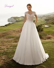 Buy Dreagel Vestido de Noiva O-neck Zipper A-line Chiffon Wedding Dress 2017 Romantic Lace Flare Sleeves Appliques Sashes Bride Gown for $179.39 in AliExpress store