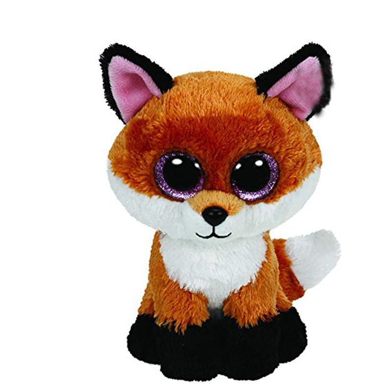 Original Ty Beanie Boos Big Eyes Plush Toy Doll Fox TY Baby Kids Gift 10-15 cm Stuffed Animals(China (Mainland))