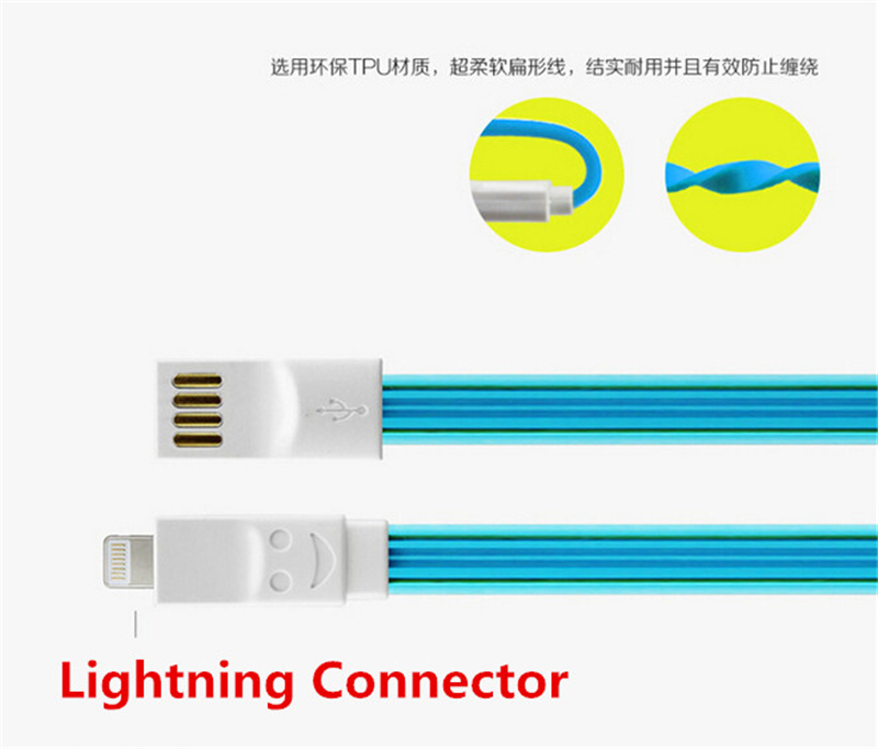 Phone Adapter Charger USB Sync Cable Cord Crystal Jelly Noodle Charging Cable For Iphone 5 5s 5c 6 6plus Ipod Touch For Ios 8 1M(China (Mainland))