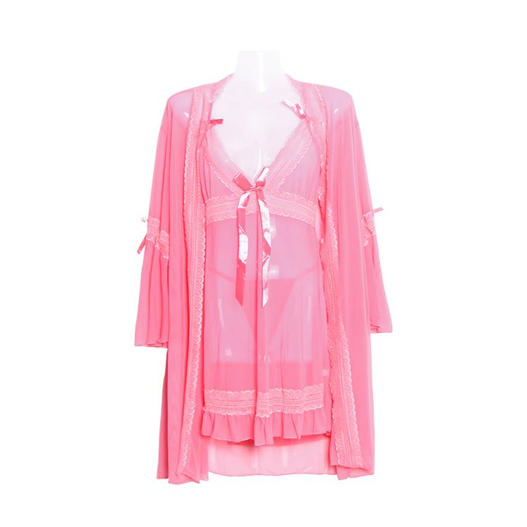 2017 Long lace nightgown female silk robe sleepwear lingerie nightdress 3 pcs sexy nighty sleeping clothes women nightie