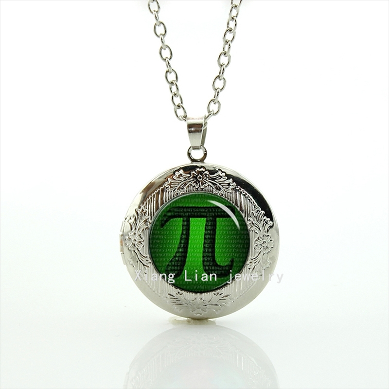 PI Mathematic Symbols Round Glass cabochon Hand made decorative image picture locket necklace T762(China (Mainland))
