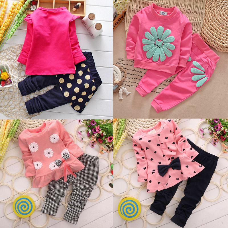 2pcs Baby Girls Clothing Sets Cotton Heart-shaped Long Sleeved Love Bow Top + Pants Autumn Spring Sunflower kids Clothes Set V49(China (Mainland))