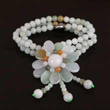 Fashion Pure Hand Braided Myanmar Jadeite Beads Stranded Sunflowers Pendant Short Necklace Women Choker(China (Mainland))