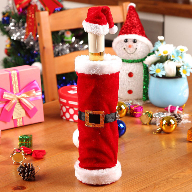 Likable 1 Set Christmas Santa Clause Clothing Hat Dress Wine Bottle Cover Home Decoration Holiday Party New Years(China (Mainland))