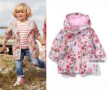 Kinder/kinder/baby/mädchen floral parka, winddicht/wasserdicht graben, frühling/herbst jacke w fleece futter, 9 Mt, 5Y(China (Mainland))