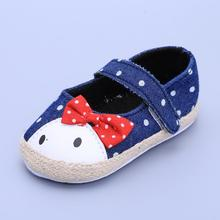Baby Toddler Infant Girls Antiskid Bowknot Demin Soft-soled Fashion Sneakers Prewalkers Boots Crib Shoes(China (Mainland))