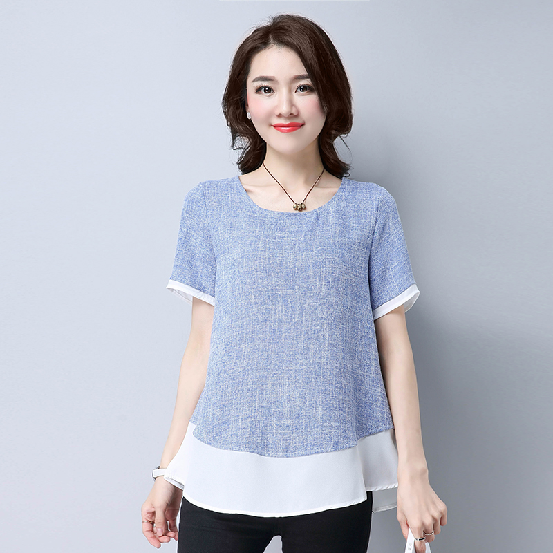 2017 Summer Large Size Simple Cotton Linen Women Tshirts Gray Blue O-neck Elegant Ladies Cool Loose Tops Mujer C1D S M L XL(China (Mainland))