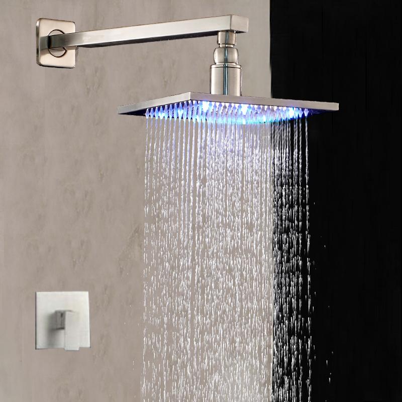 "Фотография Wall Mounted LED 8"" Square Rain Shower Head Single Handle Vavle Mixer Tap NEW"