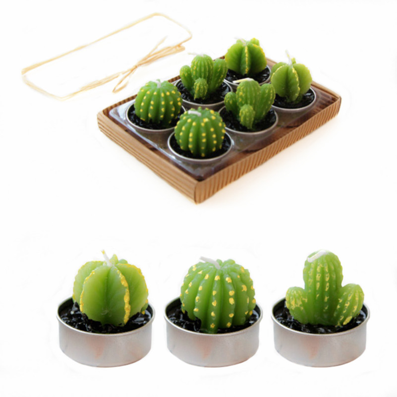 Rare Candle Mini Cactus Candles Plant Home Decor Table Tea Light Garden 6pcs/lot Kawaii Home Decoration Free Shipping(China (Mainland))