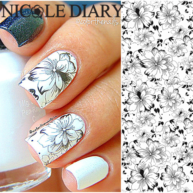 NICOLE DIARY-32 Nail Art Water Tattoo Design Manicure Flowers Water Transfer Sticker Nail Art Water Decals 25966(China (Mainland))