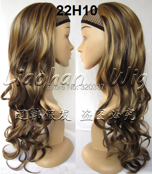 3/4 Half Wig Heat Resistant Synthetic Hair 200g 24 Curly Wig Hairpieces Half Wigs for Women F22/10 Mixed Brown Wig<br><br>Aliexpress