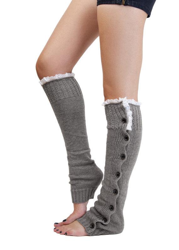 Lace Trim Flat Cuffs Button Down Knit Warmers Knee High Boot Socks Winter Boot Warm Socks Knit Leg Warmer 6923(China (Mainland))