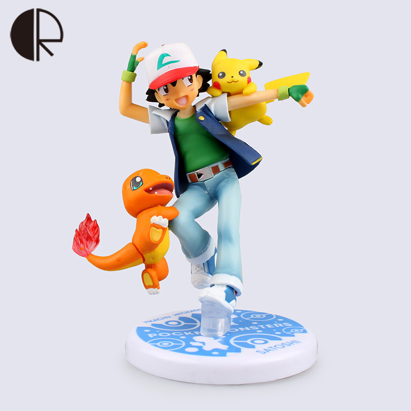 Pokemon Action Figure Toy PVC Ash Ketchum Charmander Pikachu Statue with Original Box Anime figurine Collection Model HT3484(China (Mainland))