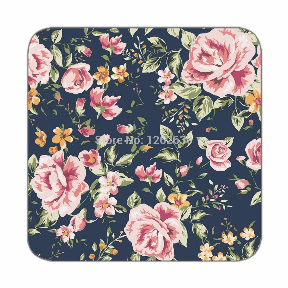 Black Vintage Pink Watercolor Floral Allover Pattern Print Custom Mat Drink Tea Cup Cork Coasters Pack of 4(China (Mainland))