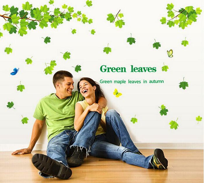 Green maple leaf wall stickers populaire bricolage vert for Auto collant mural