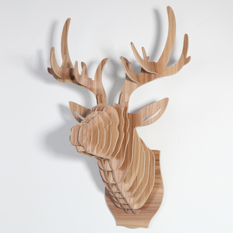 60cm wood deer head wall deer head decoration for home Christmas wooden decorations 5mm mdf Wood Crafts(China (Mainland))