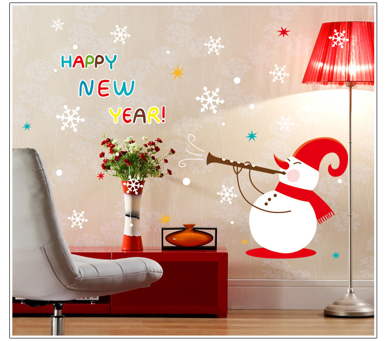 Happy new year christmas snowman snowflake wall stickers for Christmas wall mural plastic