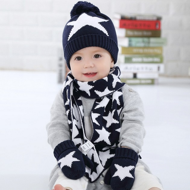 boys knitted hat scarf glove set children new 2015 winter fashion kids boy navy blue star print 3 pieces sets christmas gift