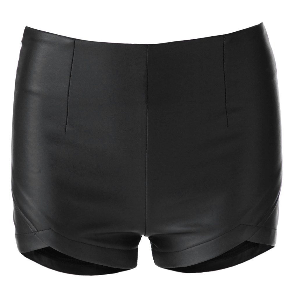 Summer Style 2016 New Fashion Women Shorts Stylish Solid Color Zippered Fly Faux Leather Sexy Shorts Black Women S M L(China (Mainland))
