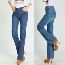 free shipping new arrival autumn Spring light blue high elastic waist slim bell-bottom jeans plus size female denim trousers