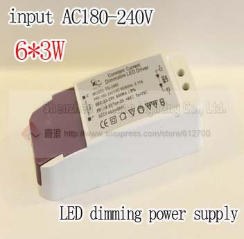 Free shipping 6PCS/lot 6*3W LED dimming power supply,9-24V LED dirver Reliable Quality, external light(China (Mainland))