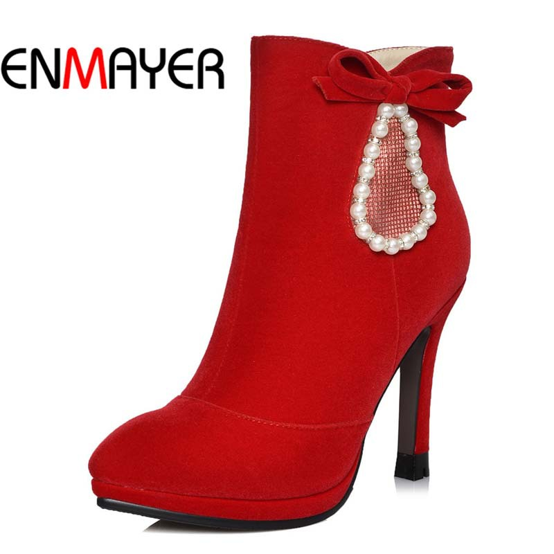 ENMAYER Pointed Toe Beading Wedding Platform Boots Flock Fashion Thin Heels High Boots New Black Red  Nubuck Leather women boots<br><br>Aliexpress