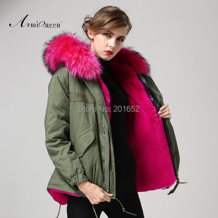 2015 new arirval winter women faux fur parka coat,long sleeve mrs jacket green outerwear - Harve leger store