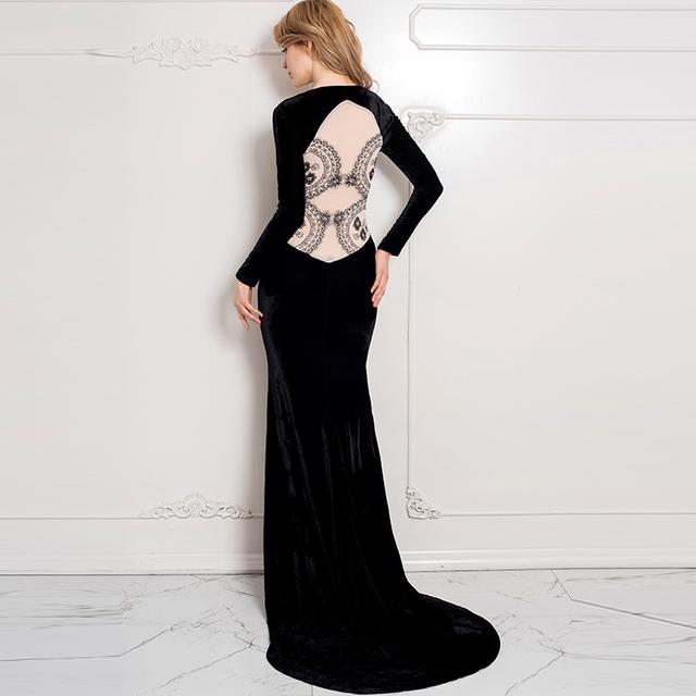 R70214 Топ продаж черное платье вечера партии элегантный вернуться see through кружева ...