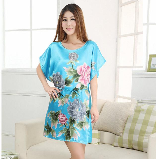 Высокая Стильный Лето Nuisette Pijama Mujer Светло-Голубой Китайских женщин Шелк ...