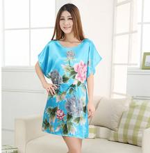 High Stylish Summer Nuisette Robe Pijama Mujer Light Blue Chinese Women's Silk Rayon Bath Gown Yukata Nightgown One Size Xsz013(China (Mainland))