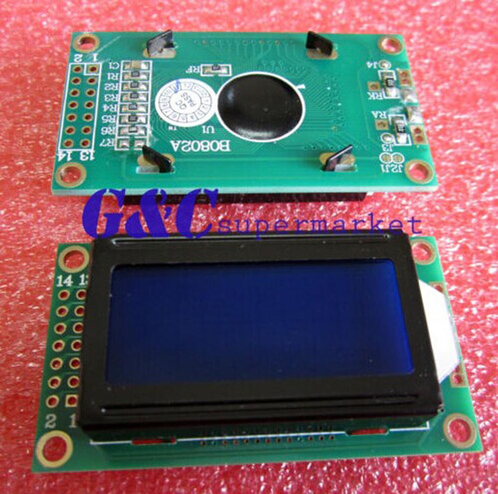 2PCS 0802 8X2 characters LCD module Blue backlight NEW(China (Mainland))