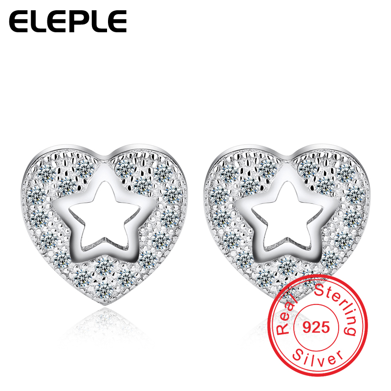 925 Sterling Silver Earrings with Heart CZ Diamond Elegant Wholesale Star Jewelry Stud Trendy Earring For Women ECYWE020(China (Mainland))