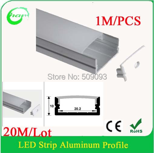 Lowest price Hanks aluminum profile with PC cover for width up to 20mm led strips cabinets lights steps stairs lighting(China (Mainland))