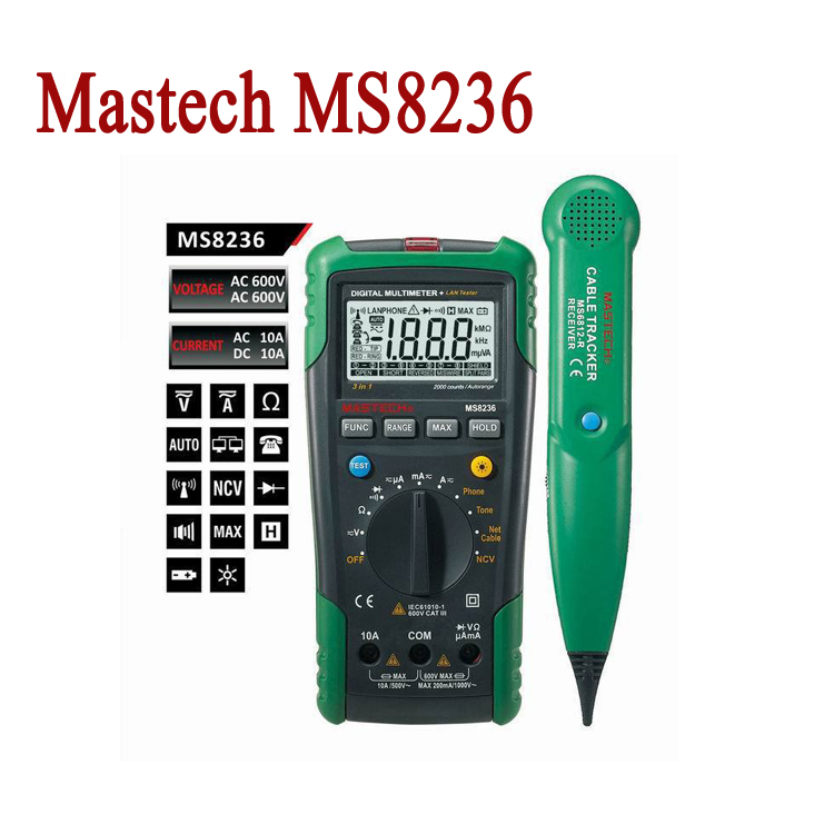 Mastech MS8236 Digital Multimeter Networking Tester Net Cable Tracker Tone Telephone line Check Non-contact Voltage Detector<br><br>Aliexpress
