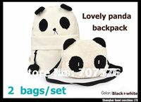 Women's Lovely Canvas Backpack White Panda Shoulder School Backpacks With a Small Panda Shoulder Bag Leisure Bags