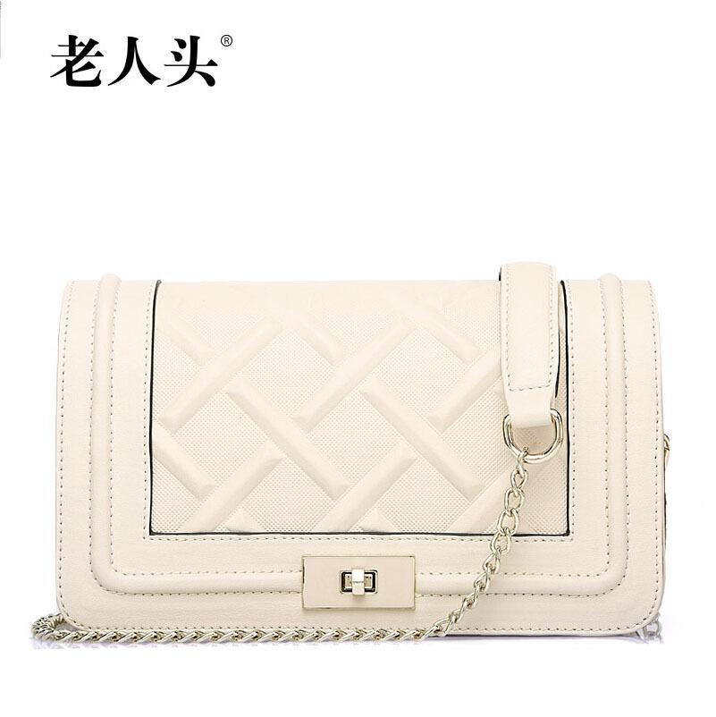 2015 new famous brands women bag Top Quality genuine leather bag fashion chains women Shoulder Messenger Bag beige(China (Mainland))