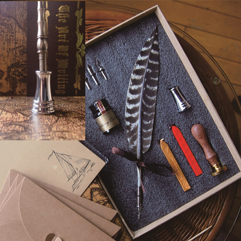 Best Antique Nature Feather Calligraphy Handwriting Dip Pen Set with 2 ...