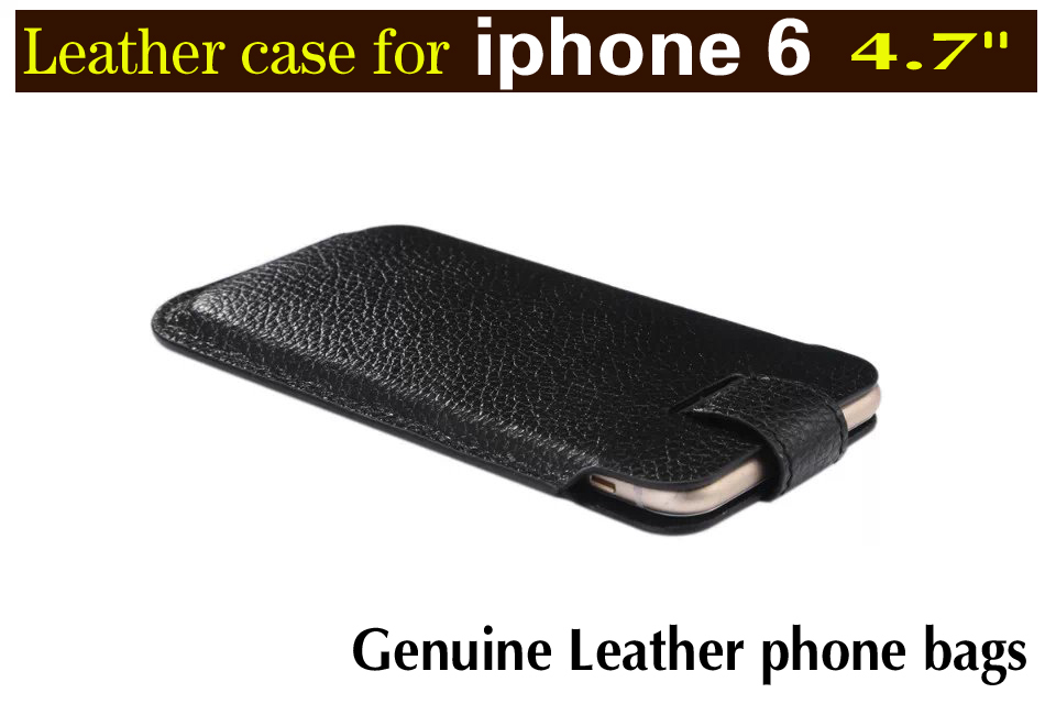 High quality Leather Sleeve Bag Pull Tab Pouch Case Cover for Apple iphone 6 4.7 case Luxury leather cover for iphone6 phone bag(China (Mainland))