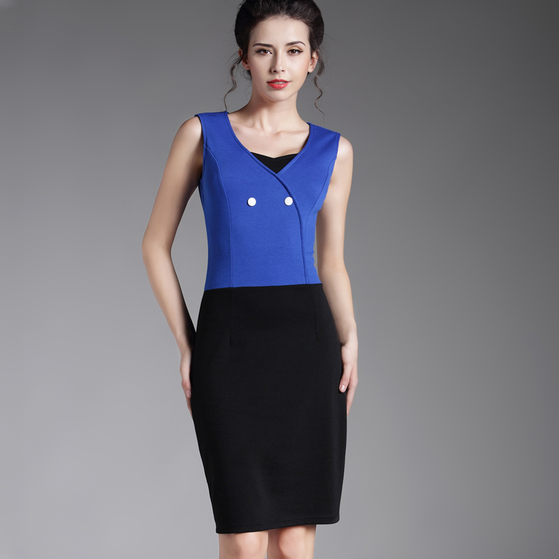 Fashion Office Lady Business Mature Patchwork Sleeveless Work Dress Buttons Waist Buckles Sheath Lateral Zip Vintage Dress B306(China (Mainland))