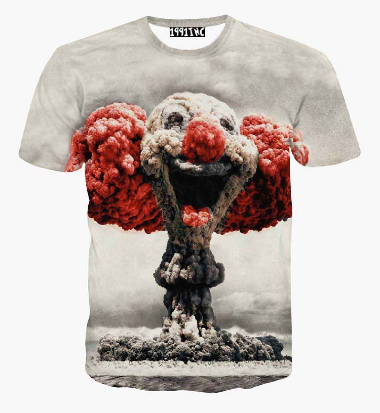 Newest style cute mushroom cloud clown print 3d t shirt men women harajuku swag funny t