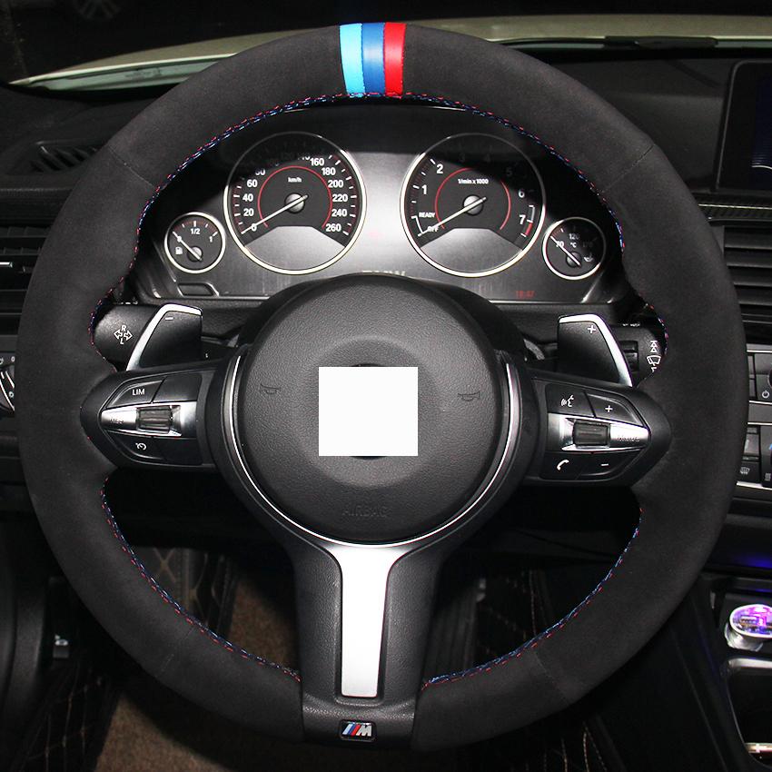 XuJi Black Suede Blue Dark Blue Red Marker Steering Wheel Cover for BMW F33 428i 2015 F30 320d 328i 330i 2016 M3 M4 2014-2016(China (Mainland))