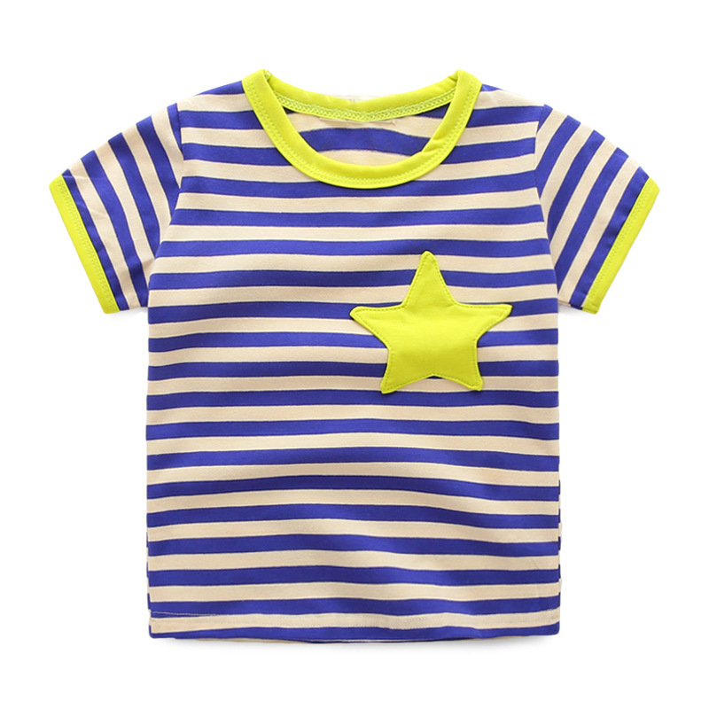 2016 Boy Summer Stripped T Shirt Natural Cotton Made Shortsleeve Clothes 2016 Latest Kids Clothes Good Sweat Absorbility(China (Mainland))