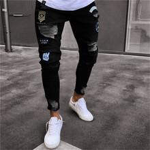 2019 Homens À Moda Rasgado Calças de Brim Motociclista Desgastado Calças Jeans Retas Magros Hip Hop Nova Moda Jeans Skinny Homens S-4XL(China)