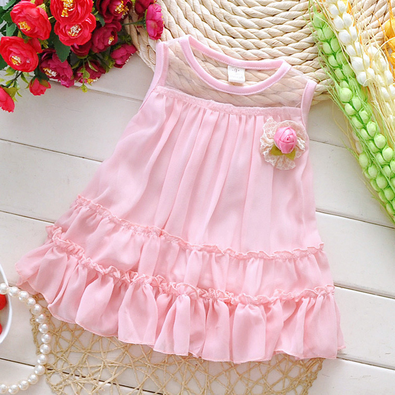 2016 Fashion Summer Sleeveless Lace Bow Cute Baby Party Birthday Girls Kids Children Dresses Princess Infant