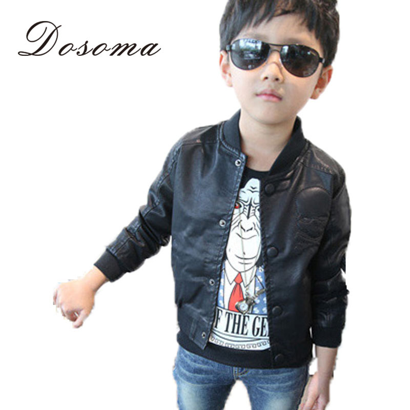 New 2015 Spring Fashion Baby Boys Skull Print Faux Leather Jackets Coat Kids Trendy Autumn Motorcycle Tops Outwear for 2-8y boys(China (Mainland))