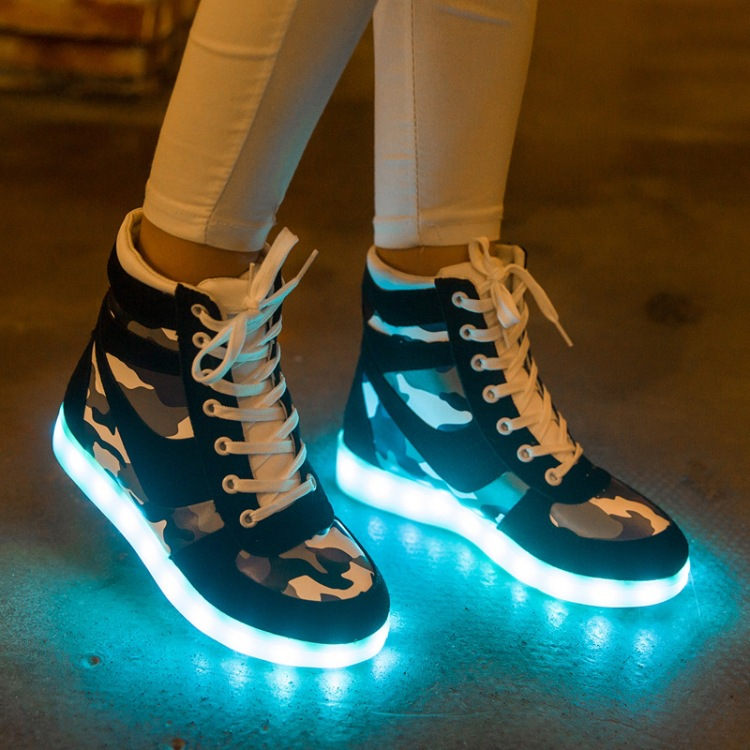 Light up adult shoes men LED Couples Casual Womens boots shoes high USB charging colorful lights Chaussure led Homme Camo<br><br>Aliexpress